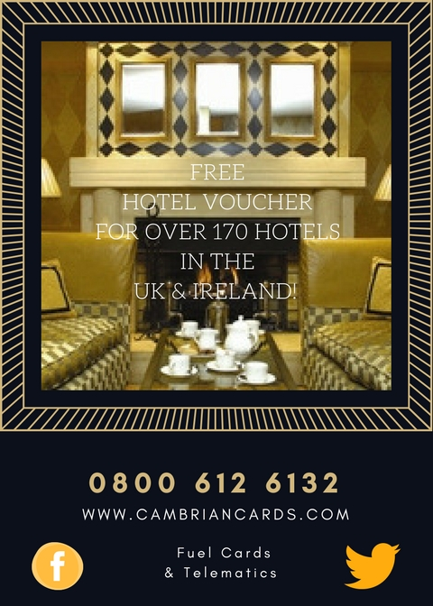 Plush Hotel Interior UK Hotel free voucher with Cambrian Fuel Cards