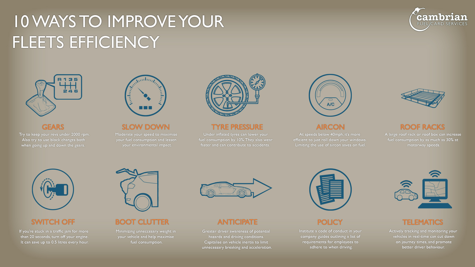ten fleet efficiency tips infog