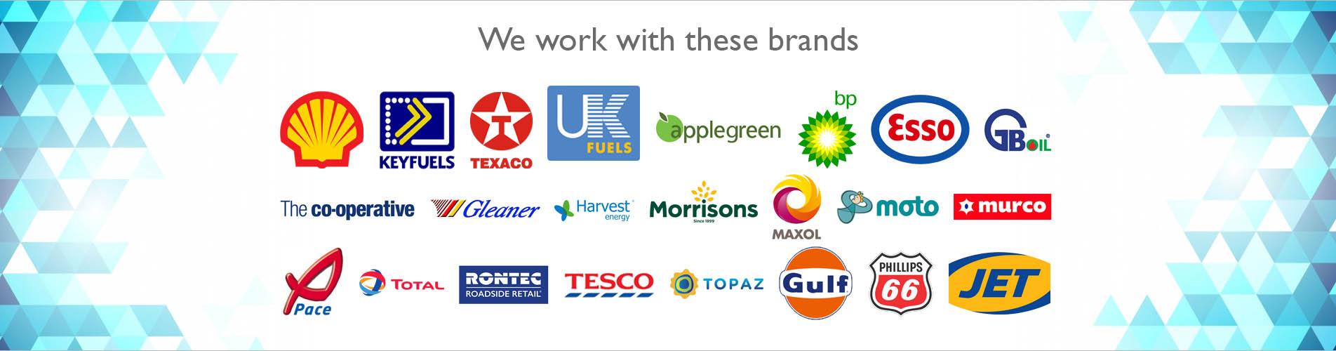 our brands - shell key fuels texaco ukfuels applegreens bp esso gboils cooperative gleaner harvest energy morrisons maxol moto murco pace total rontec tesco topaz gulf phillips66 jet