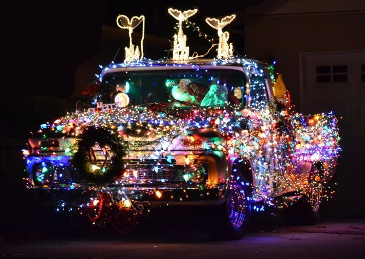 excessively decorated christmas car