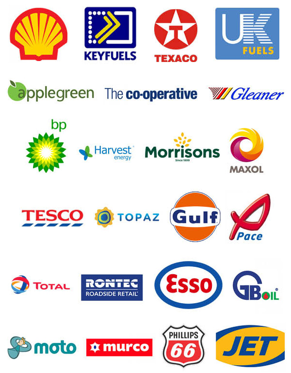 Shell, Texaco, Applegreen, Esso, BP, GB-Oils, Coop, Gleaner, Harvest Energy, Morrisons, Maxol, Murco, Moto, Pace, Total, Rontec, Tesco, Topaz, Gulf, Jet and Phillips 66.