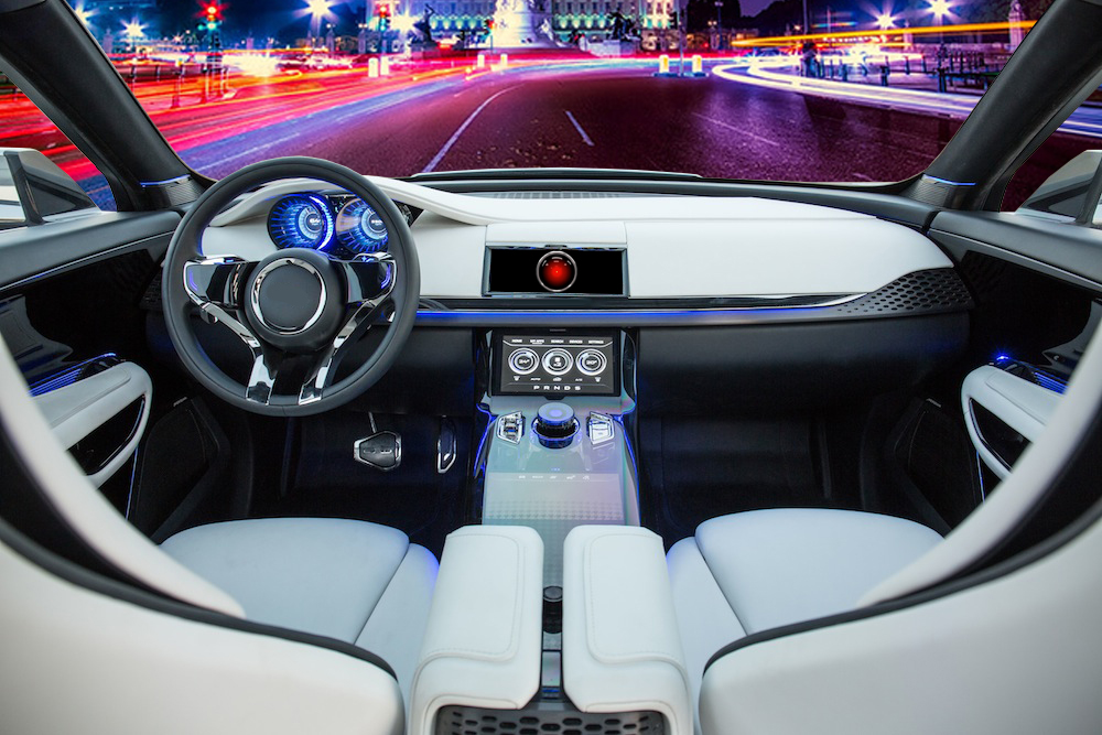 driving view from concept car show in car AI system