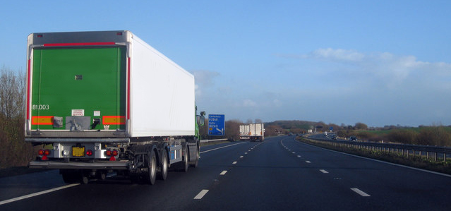 lorry travelling along the motorway
